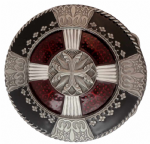 Celtic Red and White Cross Belt Buckle with display stand. Code DF1